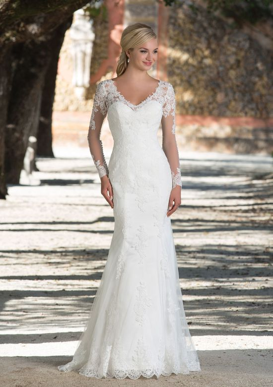Sincerity Bridal Style 3898 V-Neck Gown with Lace Illusion Sleeves and Back