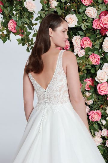 Sweetheart Gowns Style 11070 Illusion V-Neckline Beaded Lattice Lace Ball Gown