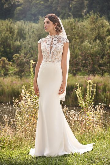 Lillian West Style 66121V Finger Tip Length Veil with Chiffon Embroidered Lace