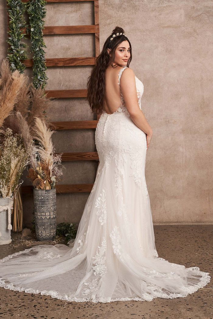 Lillian West Style 66143PS Plus Size Fit and Flare Gown with Low Back and Side Cutouts