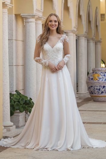 Sincerity Bridal Style 44098 Long Sleeve Dress with Double Keyhole Back
