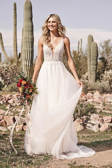 Lillian West Style 66173 Beaded Tulle A-Line Wedding Dress with Plunging V-Neckline