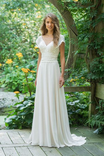 Lillian West Style 66016 Cap Sleeve V-Neck Lace Bodice Gown