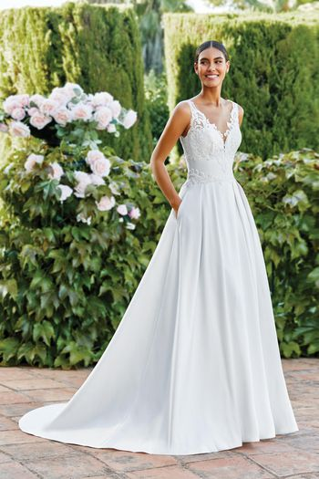 Sincerity Bridal Style 44191 Clean Mikado Ball Gown with Box Pleats and Pockets
