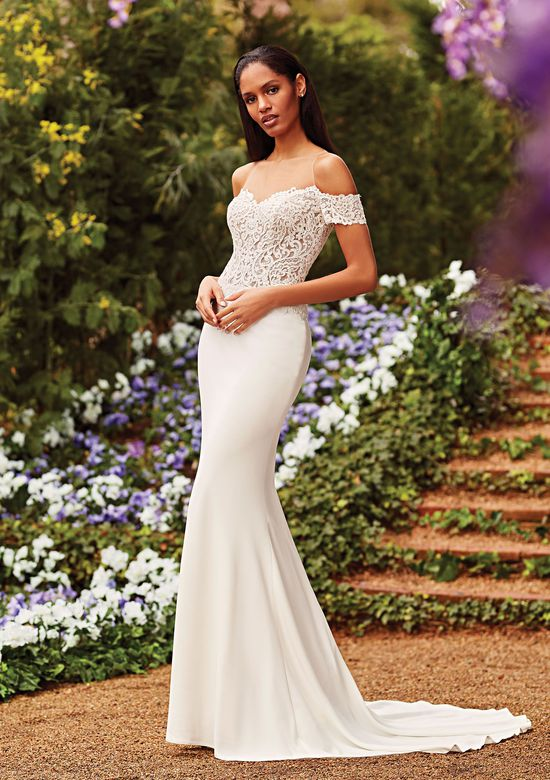 Sincerity Bridal Style 44167 Off the Shoulder Fit and Flare Gown with Detachable Train