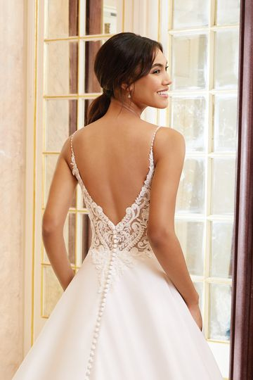 Sincerity Bridal Style 44232 Beaded Bikini Neckline A-Line Gown with Mikado Skirt
