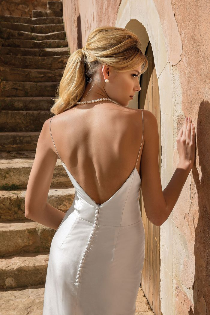 Justin Alexander style 88065 Bikini Top Column Gown with Detachable Skirt
