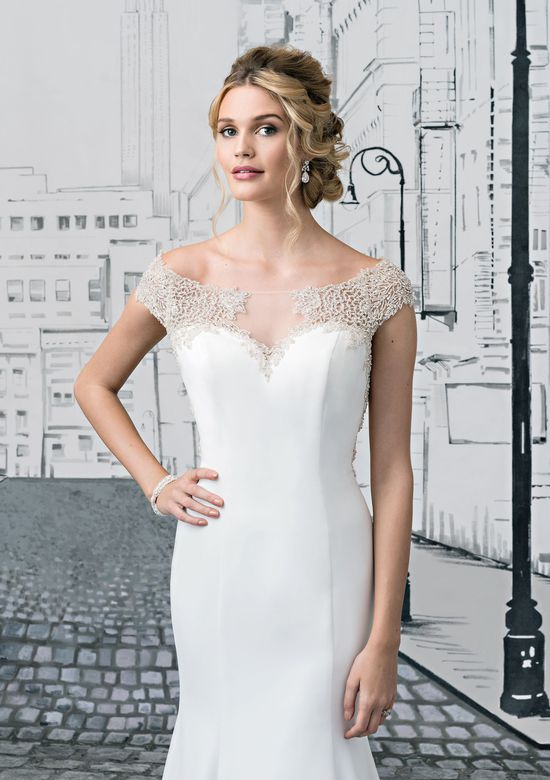 Justin Alexander  Fit and Flare Gown with Illusion Keyhole Back with Intricate Beading