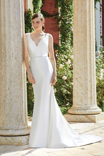 Sincerity Bridal Style 44193 Stretch Mikado Fit and Flare Gown with Beaded Belt and Trim