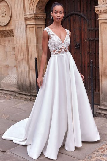 Adore by Justin Alexander Style 11192 Rowena Mikado Skirt Ball Gown with Beaded Lace and Illusion Inset Waist