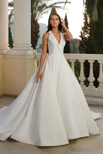 Justin Alexander Style 88072 Halter Neckline Satin Ball Gown with Beaded Back Detail