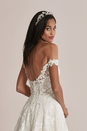Justin Alexander Style 88223 Caralynn Floral Lace A-Line Wedding Dress with Off the Shoulder Straps
