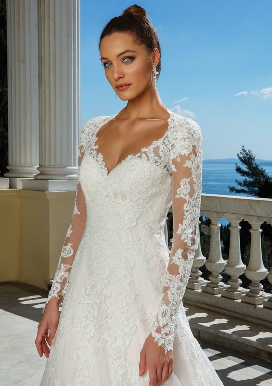 Justin Alexander Style 88116 Illusion Bodice Allover Lace A-Line Gown
