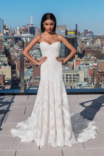 Justin Alexander Signature Style 99027 Sweetheart Dropped Waist Floral Lace Gown