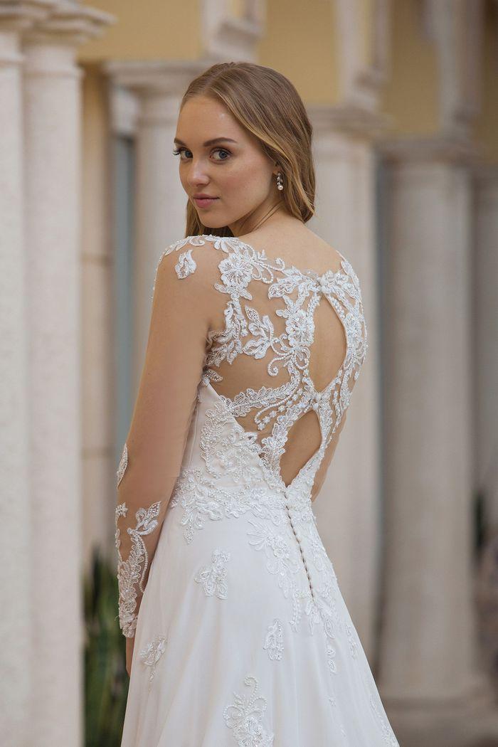 Sincerity Bridal Style 44098 Long Sleeve Dress with Double Keyhole Back
