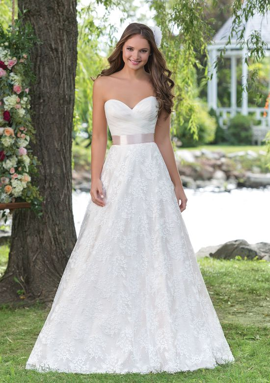Sweetheart Gowns Style 6160 Allover Lace and Tulle A-Line with Satin Belt