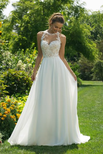 Sweetheart Gowns Style 11028 Illusion Jewel Neckline Gown with Chiffon Skirt