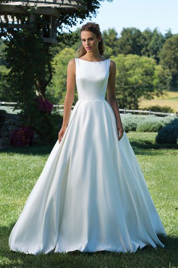 Sincerity Bridal Style 3987 Matte Satin Ball Gown with Box Pleat Skirt and Sabrina Neckline