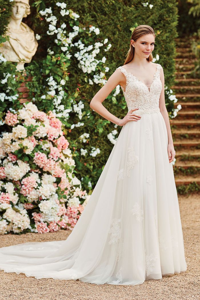 Sincerity Bridal Style 44177SK V-Neckline Lace and Chiffon Gown with Detachable Tulle and Lace Overskirt
