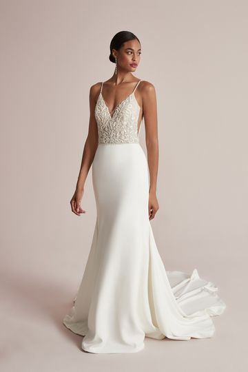 Justin Alexander Style 88207 Cambria Beaded Fit and Flare Dress with Bikini Neckline and Crepe Skirt