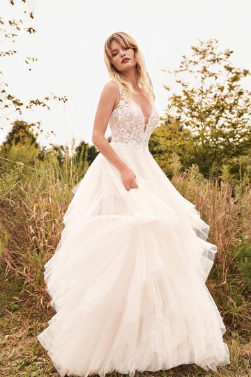 Lillian West Style 66190 Handkerchief Skirt Ball Gown with V-Neck and Floating Appliqués
