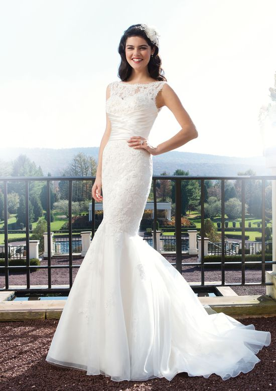 Sincerity Bridal Style 3755 Beaded lace fit and flare dress with a sweetheart neckline