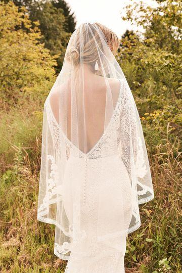 Lillian West Style 66191V Fingertip Length Veil with Appliqués and Lace Trim