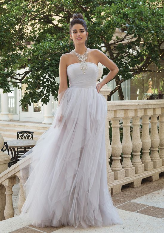 Sincerity Bridal Style 44106 Beaded Jewel Neck Ruffle A-line Gown