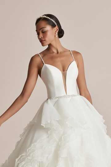 Justin Alexander Style 88211 Claire Bikini Neckline Ball Gown with Organza Mille-Feuille Ruffle Skirt