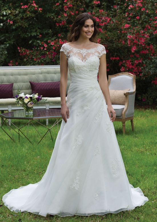 Sincerity Bridal Style 3957 Strapless A-Line Gown with Asymmetrical Draped Waist