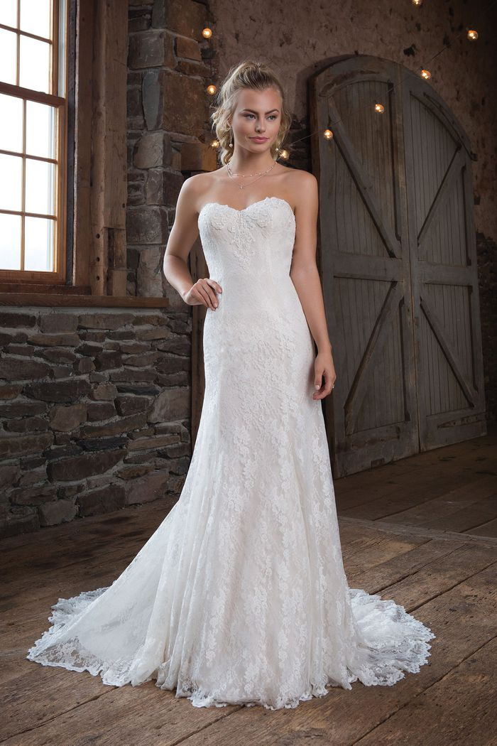 Sweetheart Gowns Allover Chantilly Lace Gown with Sweetheart Neckline