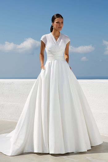 Justin Alexander Style 88019 Organza Draped Illusion V-Neck Ball Gown