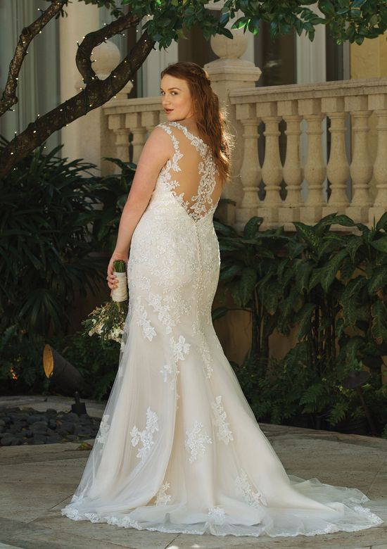 Sincerity Bridal Style 44054 V-Neck Fit and Flare Gown with Illusion Lace Back