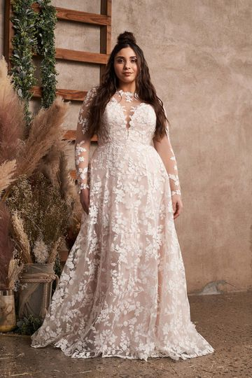 Lillian West Style 66188PS Plus Size Cotton Lace A-Line Gown with Detachable Long Sleeves