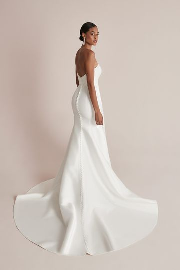 Justin Alexander Style 88205 Celeste Clean Fit and Flare Wedding Dress with Straight Neckline