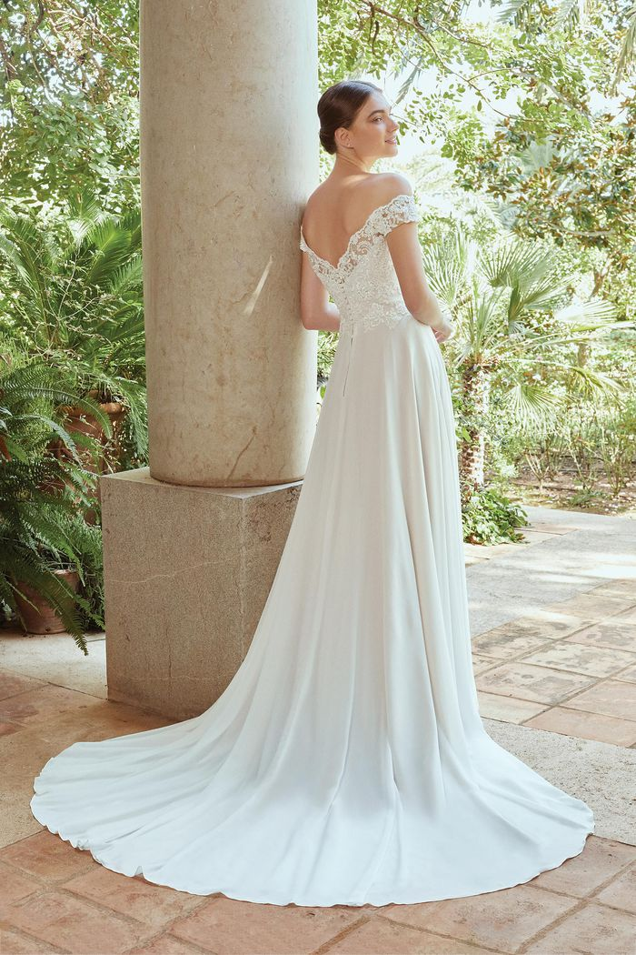 Sincerity Bridal Style 44211 Off The Shoulder Chiffon A-Line Gown with Beaded Corded Lace