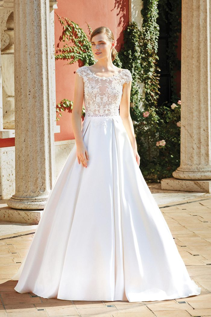 Sincerity Bridal Style 44202 Mikado Skirt Ball Gown with Box Pleats and Illusion Scoop Neck