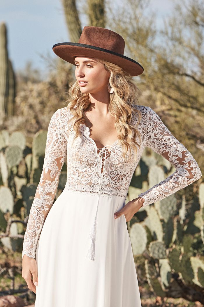 Lillian West Style 66150 Long Sleeve Chiffon A-Line Dress with Lace Up Plunge and Tassels