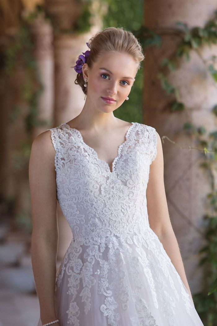 Sincerity Bridal Ball Gown with Cascading Floral Lace Appliqués and Keyhole Back