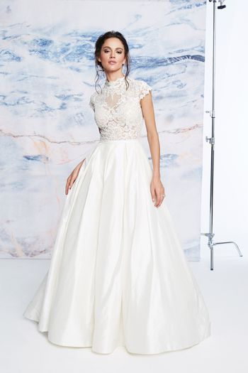 Justin Alexander Signature Style 99074 High Neck Beaded Illusion Silk Ball Gown