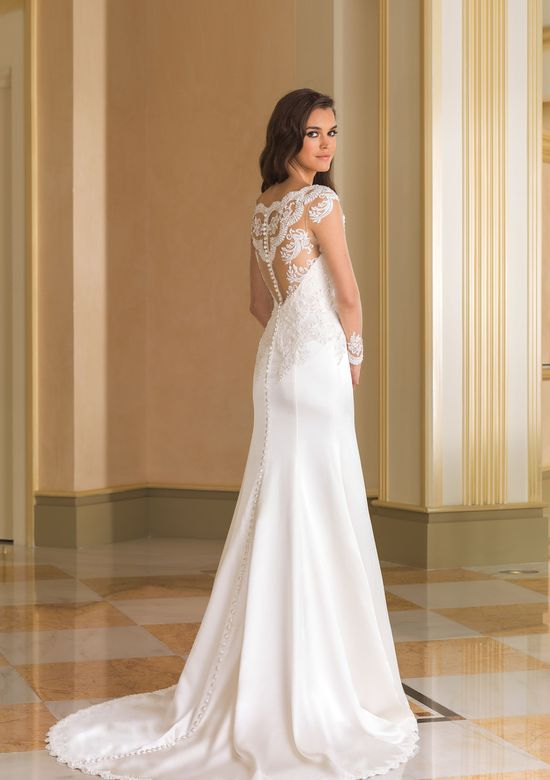 Justin Alexander Style 8864 Beaded Silk Charmeuse Bridal Gown with Lace Sleeves