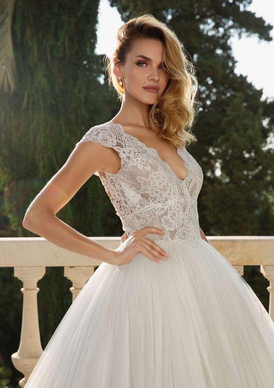 Justin Alexander style 88082 Crepe Alençon Lace Cape Sleeve Ball Gown