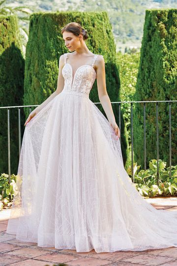 Sincerity Bridal Style 44217 Ball Gown with Detachable Straps and Geometric Sequin Tulle