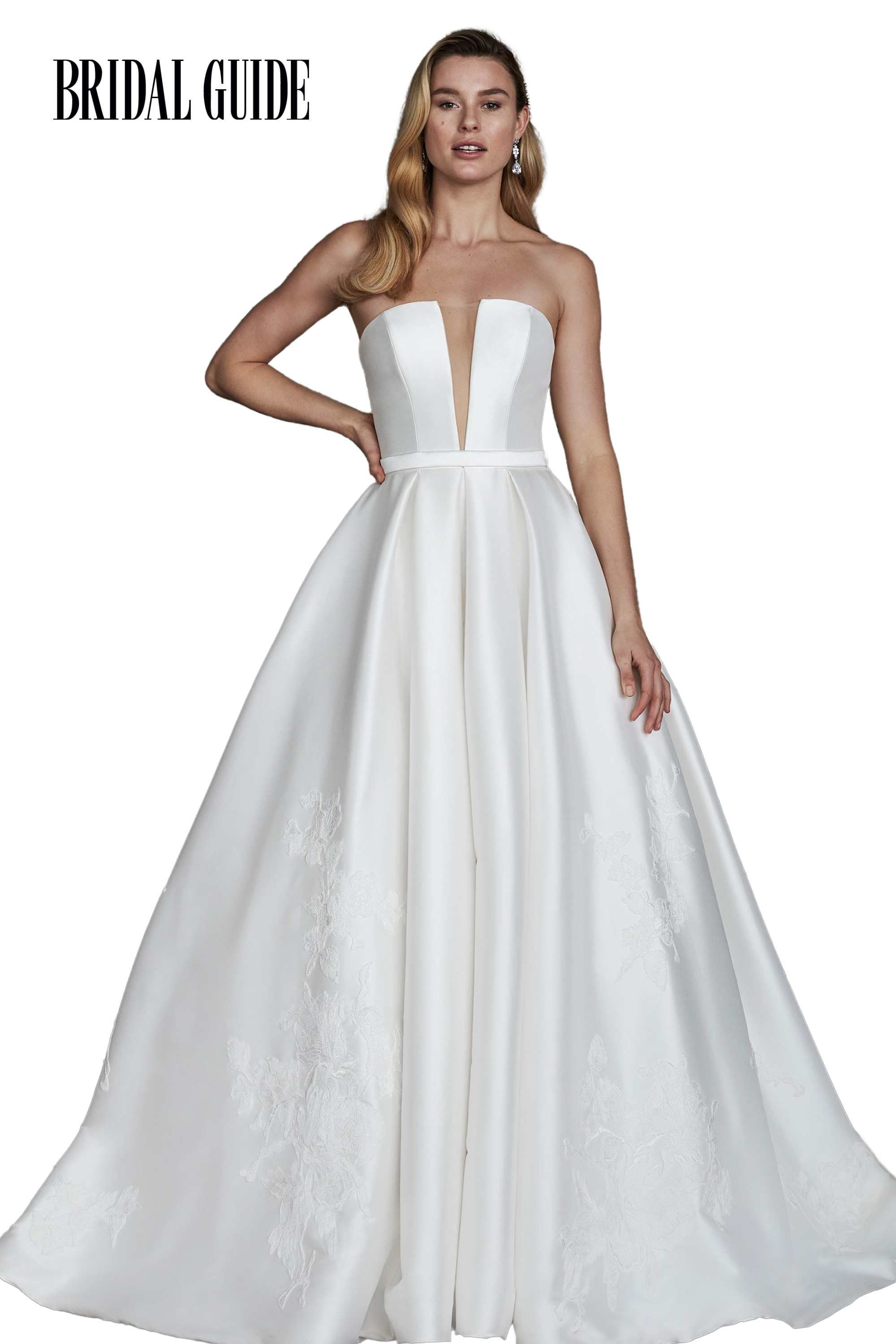 Justin Alexander Signature Style 99144 HAMPTON Mikado Ball Gown with Strapless Notch and Large Floral appliqués