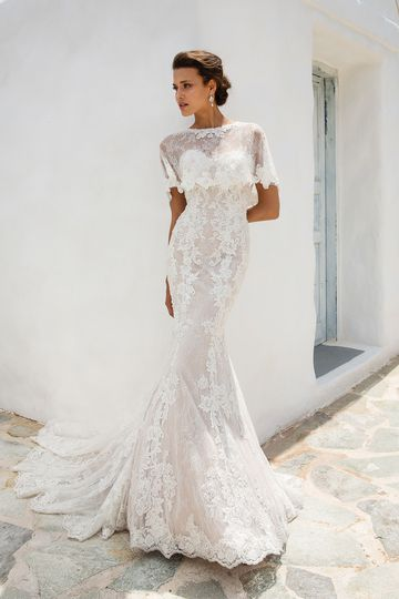 Justin Alexander Style 8920 Allover Chantilly Lace Fit and Flare with Beaded Embroidered Lace Appliques