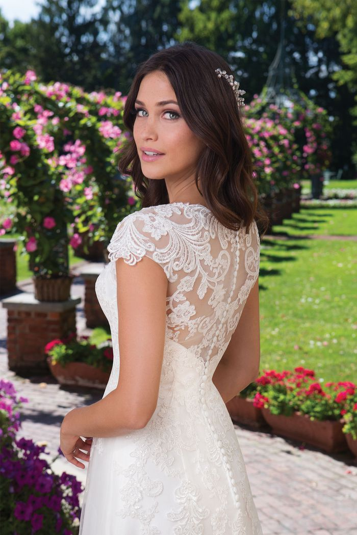 Sincerity Bridal Style 3914 Lace Adorned A-Line Gown with Cap Sleeves