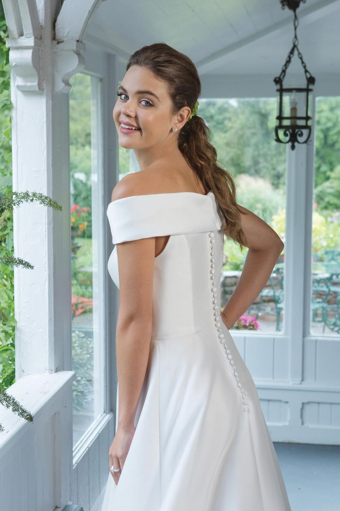Sweetheart Gowns Style 11063 Clean Mikado A-line Gown with Cuff Neckline