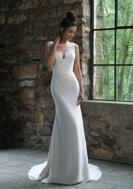 Sincerity style 44066 Straight Lace Detailed Gown with Sabrina Neckline