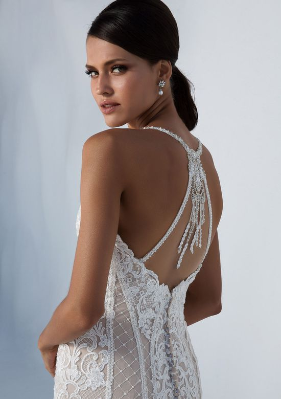 Justin Alexander Style 88007 Fit and Flare Lace Gown with Beaded Back Detail
