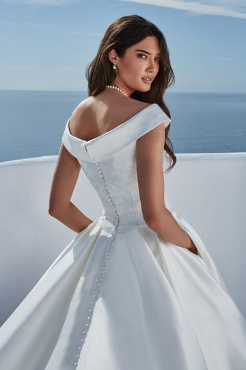 Justin Alexander Style 88185 Belle Lace Bodice Ball Gown with Cuffed Portrait Neckline
